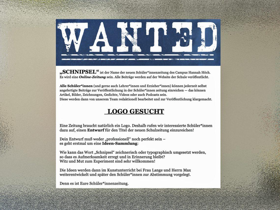 Logo für die Schüler*innen-Zeitung SCHNIPSEL gesucht